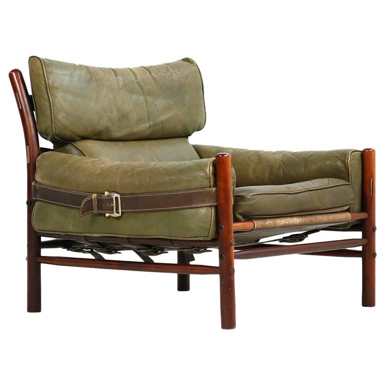 Fantastic 1960s Arne Norell Leather Lounge Chair Mod