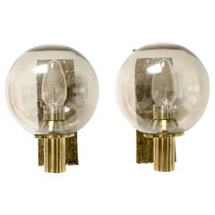 Beautiful Pair of 1970s Brass and Glass Brutalist Hollywood Sconces Gold-Plated