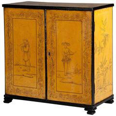 Regency Yellow Lacquer Tabletop Cabinet