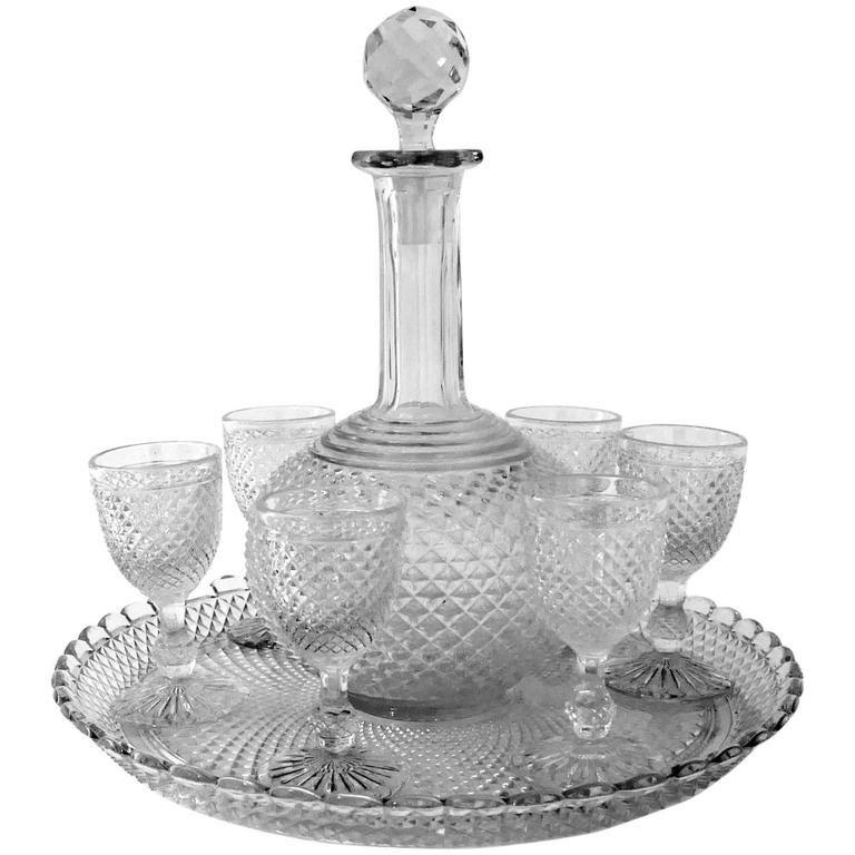 Popular 1900 Rare Baccarat Diamond Cut-Crystal Liquor or Aperitif Service  CN52