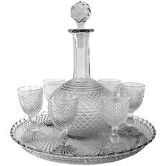 1900 Rare Baccarat Diamond Cut-Crystal Liquor or Aperitif Service