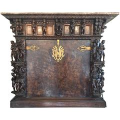 Rare Very Old Elaborately Carved Walnut Italian Court Desk
