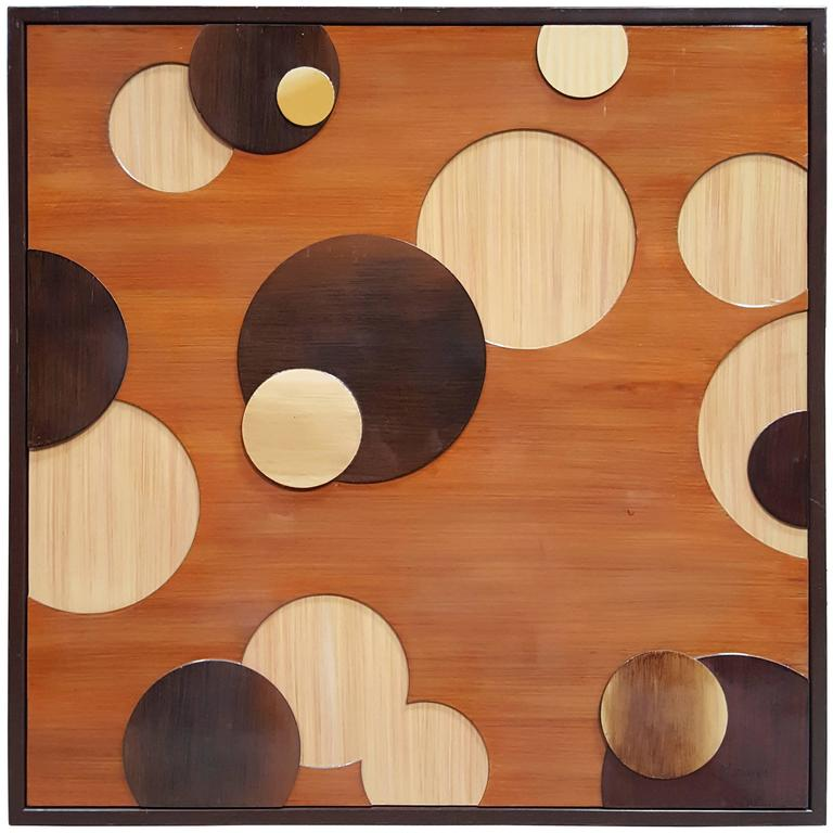 Wooden circles wall art for sale at stdibs