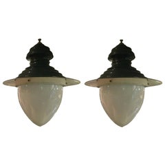 Large Vintage Green and White Hanging Pendant Lights
