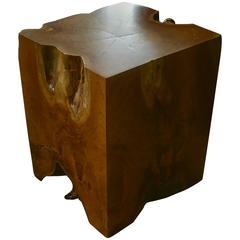 Organic Teak Root Cube Side Table