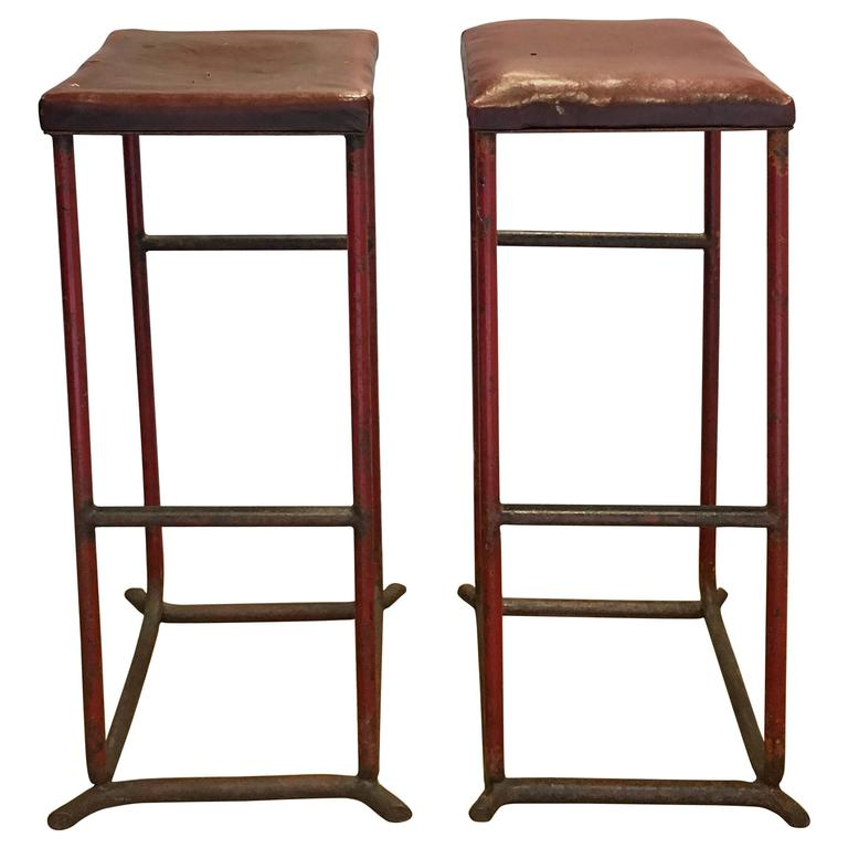 Vintage French Red Leather Stools Circa 1970s For Sale At