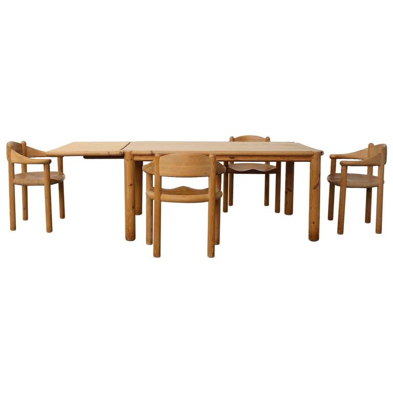 Rare Rainer Daumiller Pine Dining Set Of A Table And Four Chairs For Sale