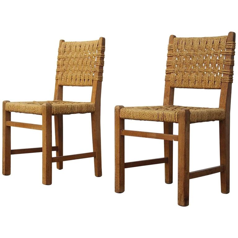 Very Rare Pair of Side Chairs by Audoux et Minet Sisal Rope for Vibo Vesoul For Sale