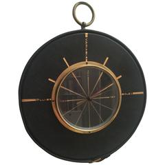 Jacques Adnet Leather and Brass Barometer
