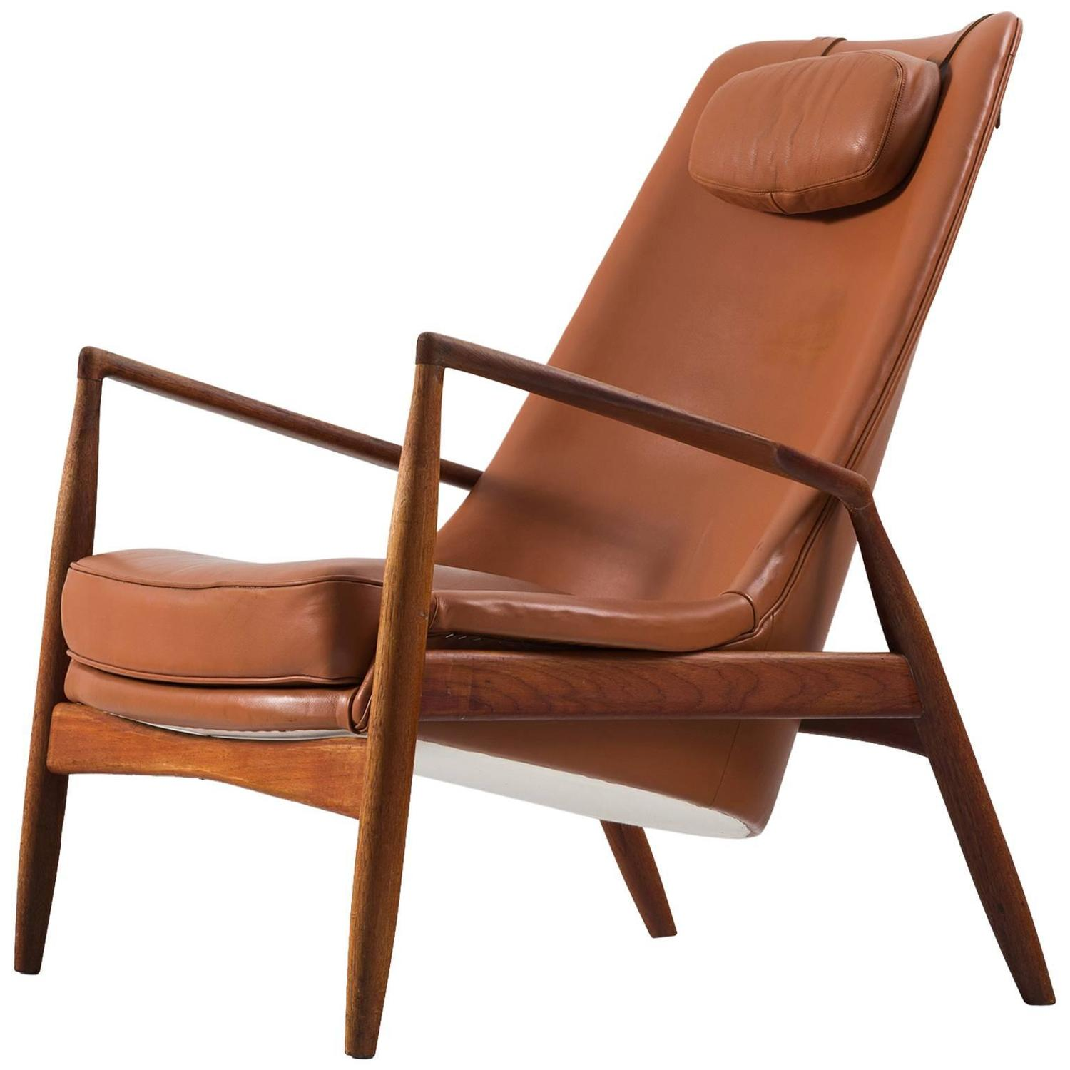 Ib Kofod Larsen 39 Seal 39 High Back Lounge Chair In Cognac Leather For S