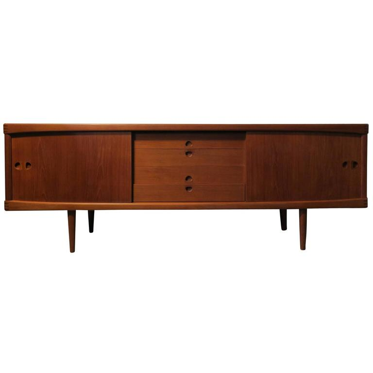 teak sideboard with inlay corners by h w klein for bramin 1960s for sale at 1stdibs. Black Bedroom Furniture Sets. Home Design Ideas