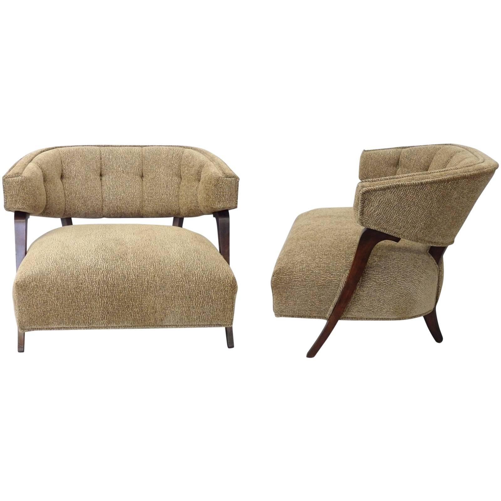 Pair of Large-Scale Button Tufted Billy Haines 1940's lux Style Lounge Chairs