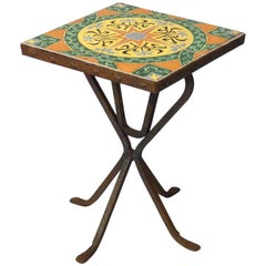 Wrought Iron Base Catalina Tile-Top Occasional Table
