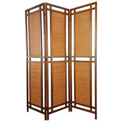 Rattan and Wood Room Divider / Screen