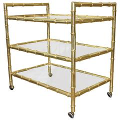 Beautiful Brass Faux Bamboo Bar Cart
