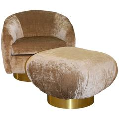 Preview Swivel Chair and swivel Ottoman with Brass Banded Bases