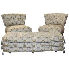 Pair of Kroehler Chairs and Matching Ottoman