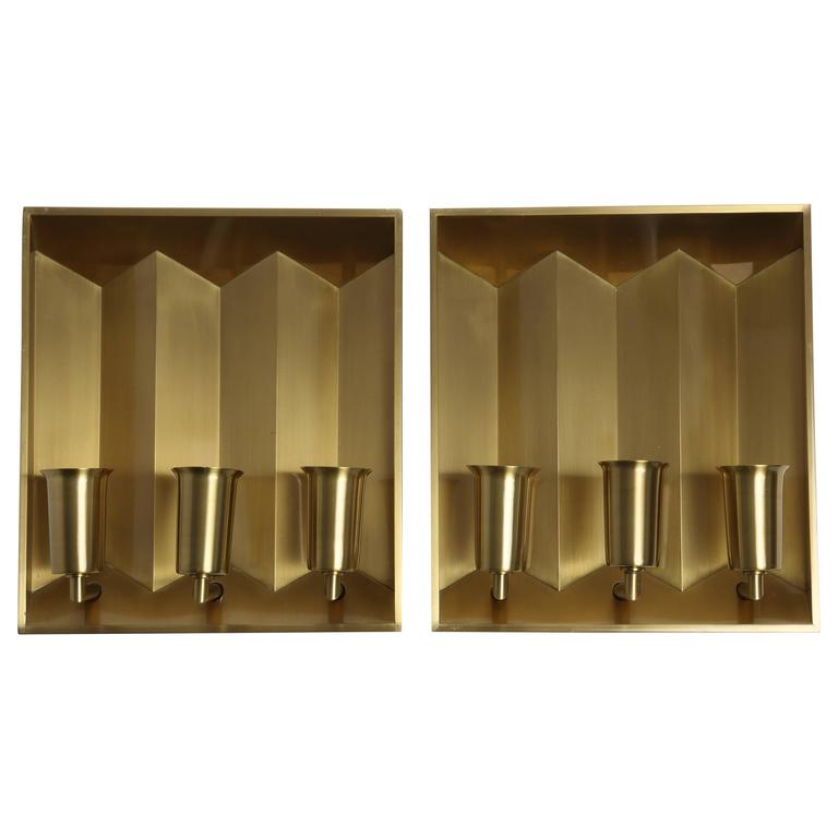 Fog & Morup Pair of Brass Wall Lamps