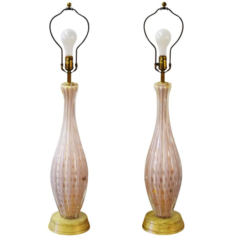 Pair of Italian Barovier e Toso Murano Table Lamps 1