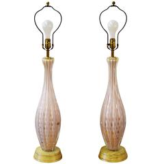 Pair of Italian Barovier e Toso Murano Table Lamps
