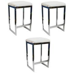 Chrome and Leather Bar Stools