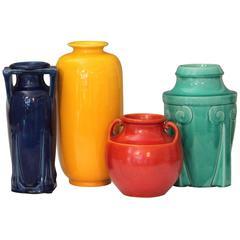 Collection Vintage Awaji Pottery Art Deco Vases