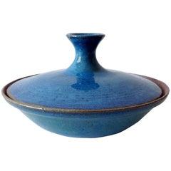 Ira Bates California Studio Stoneware Lidded Bowl