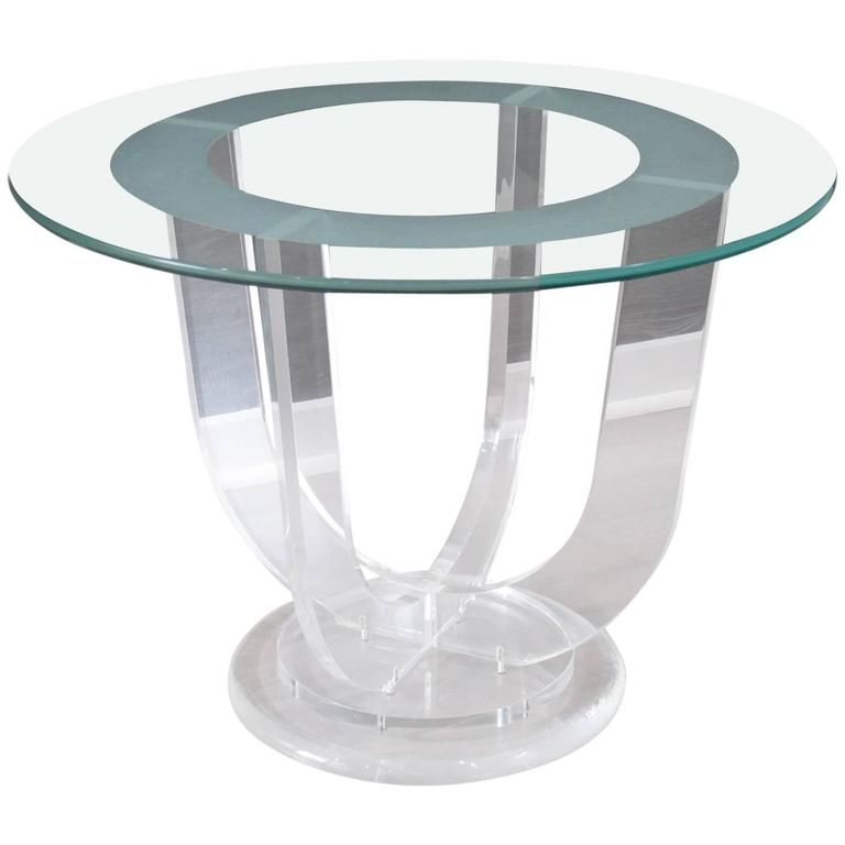 Mid Century Modern French Lucite And Glass Coffee Occasional Table At 1stdibs