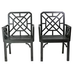 Chinese Chippendale Style Armchairs, Pair