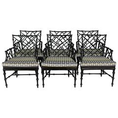 Faux Bamboo Metal Patio Chairs, Set of Six