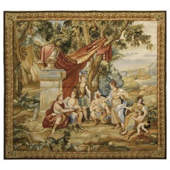 Late 19th Century Antique French Aubusson, Garden Tapestry Wall Hanging