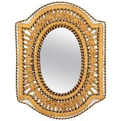 "Unusual Woven Wicker Rectangular Mirror in the ""Emmanuelle"" Chair Manner"