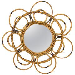 Unusual 1960s French Riviera Flower Burst Bamboo and Wicker Mirror