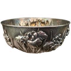 Antique Sterling Silver Blooming Iris Treasures Bowl Prestigious Yokohama Fir