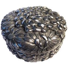 "Japan Antique Sterling Silver ""Blooming Chrysanthemums"" Treasure Box FREE SHIP"