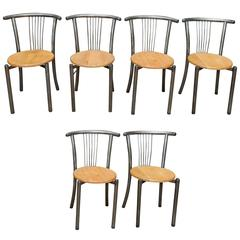 Set of Six Industrial and Design Mid-Century Iron and Oak Chairs, 1950s