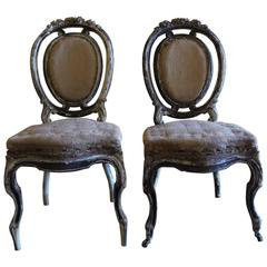 Set of 6 Louis XV Black & White Mahogany Chairs w/ Original Juta Seats
