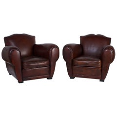 Pair of Art Deco Brown Leather Club Chairs