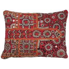 Indian Mirrored Shisha Pillow  Red, Pink, Yellow, Ivory