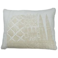 African Embroidered Pillow.  Ivory.  White.  Cushion.
