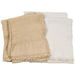 Khadi Textile Waffle Weave Towels   Unbleached and White.