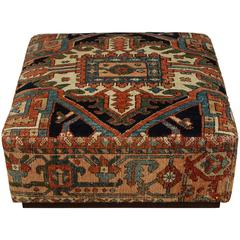 Antique Heriz Carpet Ottoman on Casters