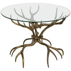 Arthur Court Brass Antler Table with Glass Top