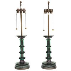 Pair of Archimede Seguso Murano Stepped Lamps, Marbro