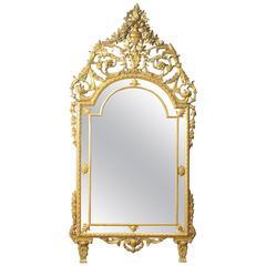 20th Century Italian Golden Mirror in Louis XVI Style