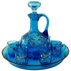 Antique French Blue Enameled Glass Liquor Set, Decanter, Cordials and Tray