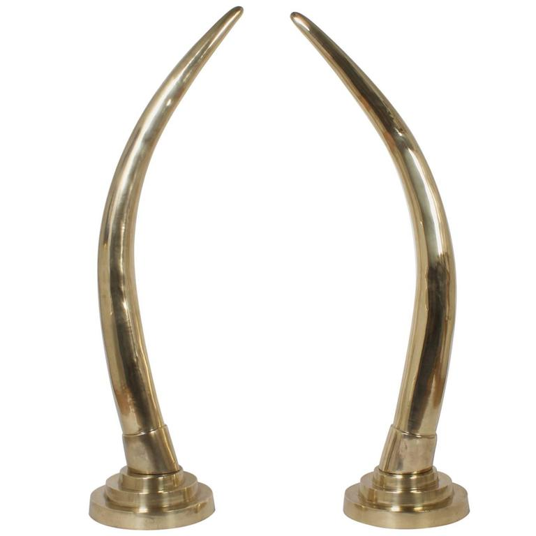 Large Pair of Brass Tusks