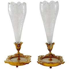 Rare Pair Antique French Champlevé Enamel Baccarat Crystal Epergne/Vases