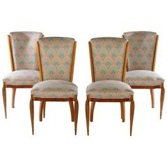 Set of Four Burled Walnut Art Deco Style Side Chairs