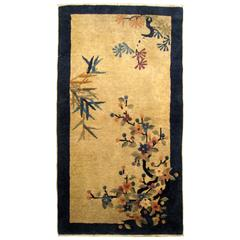 Antique Chinese Peking Oriental Rug, in Small Size, w/ Trees & Flowers at Center